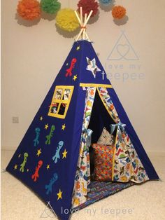 Dinosaur Rex Appliquéd Teepee - Mat - Cushions from Love my teepee the UK's leading handmade bespoke and personalised childrens teepee tents at Affordable Prices! Boys Teepee, Childrens Teepee, Teepee Play Tent, Kids Tents, Large Floor Cushions, Scatter Cushions, Tent House For Kids, Imagination Toys, Tent Accessories