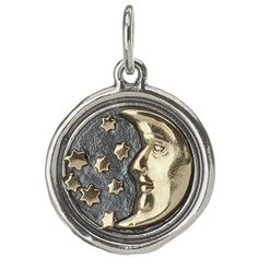 Waxing Poetic Moon & Stars Charm - Sterling silver and brass.