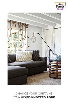 Transforming old ropes into mixed knotted curtains complimenting with your living room wall texture.