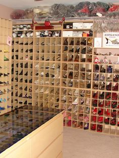 My DREAM shoe closet.......so wonderful!!!! I would just need some tall shelves for all my boots!