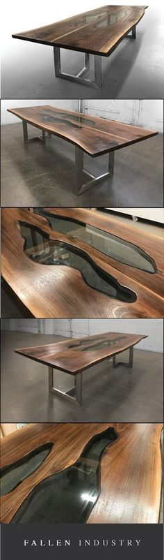 Live edge walnut slab table with glass inlays shown on a stainless steel Tribeca base. Love the artistry of this office table. Imagine some Herman Miller Eames or Emeco office chairs around it.