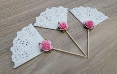 Shabby chic doily cupcake toppers wedding bridal by NatandJules