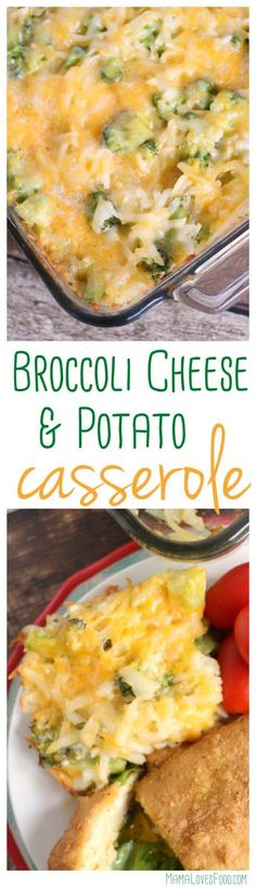 Broccoli Cheese Potato Casserole and Chicken Kiev- a hearty fall meal idea from (cheese food easy meals) Cheese Potato Casserole, Cheese Potatoes, Casserole Dishes, Broccoli Casserole, Pizza Casserole, Vegetarian Recipes, Cooking Recipes, Healthy Recipes, Casseroles Healthy