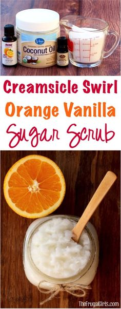 Clean skin tips egg whites Creamsicle Swirl Orange Vanilla Sugar Scrub Recipe! Sugar Scrub Homemade, Sugar Scrub Recipe, Homemade Vanilla, Homemade Soaps, Homemade Body Scrubs, Easy Homemade Gifts, Vanilla Recipes, Homemade Things, Homemade Crafts
