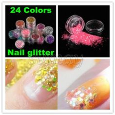 New 24 Colors Acrylic Gel Nail Art Tips Design Shine Glitter Flake Slice Decorations *** See this great product.