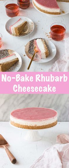 Easy to whip up No Bake Rhubarb Cheesecake! A perfect make ahead no bake cheesecake dessert that pairs perfectly with wine. Please enjoy wine responsibly. #ad #woodbridgewines #cheesecake #nobake #dessert