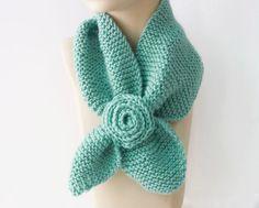 Knit Keyhole Scarf Mint , Bamboo Self Tying, Stay in Place Scarf, Women's Neck Warmer with Flower Knitted Shawls, Crochet Scarves, Crochet Shawl, Knit Crochet, Knitting Help, Knitting Needles, Love Crochet, Crochet Flowers, Little Neck