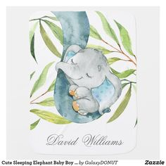 Cute Sleeping Elephant Baby Boy Personalized Baby Blanket Elephant Baby Boy, Elephant Blanket, Elephant Fabric, Elephant Nursery, Cute Elephant, Nursery Monogram, Soft Baby Blankets, Personalized Baby Blankets, Babies First Christmas