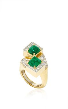 Couture Emerald Ring - Square Cut Emeralds (4.56 cts), Brilliant Cut Diamonds (1.23 cts), 18K Yellow Gold and Platinum by DAVID WEBB 'SS16' for Preorder on Moda Operandi ♥≻★≺♥