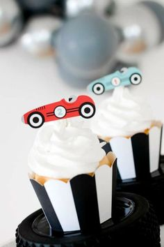 Don't miss this beautiful vintage car birthday party! The cupcakes are wonderful! See more party ideas and share yours at CatchMyParty.com #catchmyparty #partyideas #vintagecars #carss #vintagecarparty #boybirthdayparty #cupcakes Race Car Birthday, Cars Birthday Parties, Girl Birthday, Vintage Car Party, Vintage Race Car, Holiday Cupcakes, Birthday Cupcakes, Truck Cakes, Beautiful Cupcakes