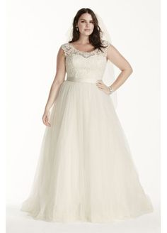 Tulle Plus Size Wedding Dress with Lace Cap Sleeve 9WG3741 http://www.davidsbridal.com/Product_tulle-plus-size-wedding-dress-with-lace-cap-sleeve-9wg3741_wedding-dresses-plus-size-dresses