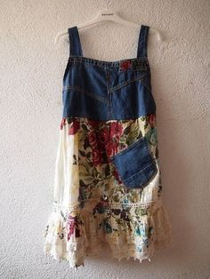 OOAK tunic made of two different skirts. Put together to be a new product made of denim and cotton. #prairiestyle #upcycled #refashion #denim #alteredcouture #ecofashion #hippie #boho #summer #tank #OOAK #affiliate