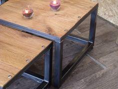 Table Gigogne Bois et métal au design industriel