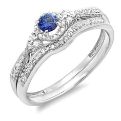 Introducing 10K White Gold Round Blue Sapphire And White Diamond Ladies Halo Bridal Engagement Band Set Size 6. Get Your Ladies Products Here and follow us for more updates!
