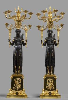 A pair of Empire ten-light candelabra attributed to Claude Galle, Paris, date circa 1805-10