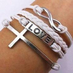 Sweet Cross & Letter Bracelet:)