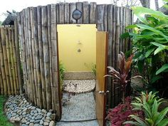 Another use for the ever-versatile bamboo. on The Owner-Builder Network  http://theownerbuildernetwork.com.au/wp-content/blogs.dir/1/files/outdoor-showers/Outdoor-Showers-5.jpg