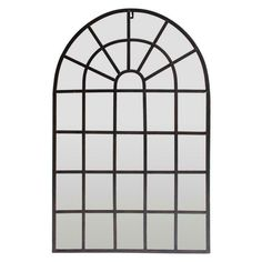 Large Window Pane Mirror Rustic Distressed Arched Metal Frame Bedroom Wall Decor #ThreeHands #Classic