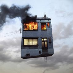 Floating building on fire
