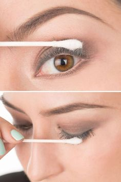 How to Get Faux-Looking Lashes Using Baby Powder - Baby Powder Mascara Trick - Elle coats of mascara from roots to tips. Dip a Q-tip into baby powder. Dust tops and bottoms. Apply another coat of mascara. Just Beauty, All Things Beauty, Diy Beauty, Beauty Makeup, Eye Makeup, Beauty Hacks, Eyebrow Beauty, Hair Makeup, Perfect Makeup