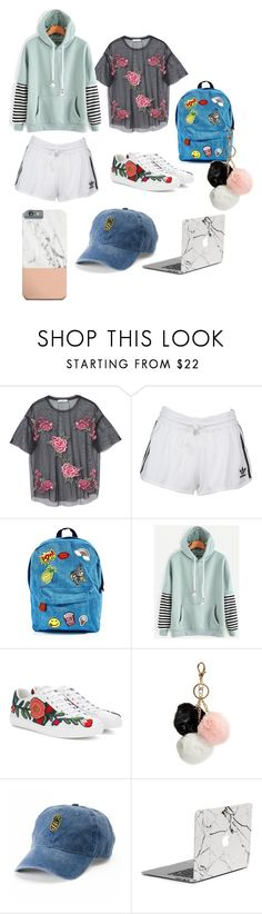 """""""School"""" by loganftiz on Polyvore featuring MANGO, adidas Originals, 3 AM Imports, WithChic, Gucci, GUESS and SO"""