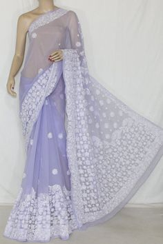 Lavender Hand Embroidered Lucknowi Chikankari Saree (With Blouse - Georgette) Rich Border & Pallu 14343