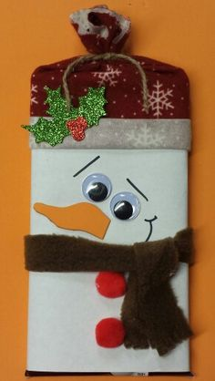 Giant Hershey Chocolate Bar candy wrapper. Christmas Snowman candy bar wrapper