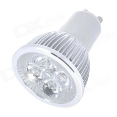 Model: GU10 4WB; Material: Aluminium alloy; Color: Silver; Quantity: 1; Emitter Type: 4; Total Emitters: 4; Power: 1 x 4pcs W; Color BIN: Warm White; Rate Voltage: 85~265 V; Luminous Flux: 400 lm; Color Temperature: 3000~3500 K; Connector Type: GU10; Features: With 4 emitters, it is brighter than usual LED lamp; Packing List: 1 x LED lamp; http://j.mp/1ljJwkr