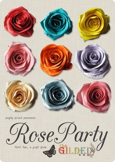 beautiful FREE Rose Party graphics by the Gilded Bee on Pugly Pixel.