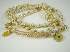 Gold Hamsa Hand Wrap Bracelet Personalized by ShinyLittleBlessings, $19.00