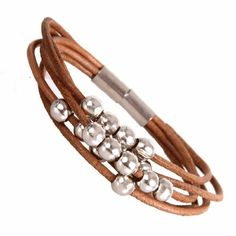 Diseño elegante pulsera de piel para mujer de plata y con cierre magnético 18 cuentas de puños
