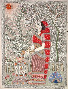 Tulsi Worship, Folk Art Madhubani Painting On Hand Made PaperFolk Painting from the Village of Madhubani (Bihar) Indian Artwork, Indian Folk Art, Indian Paintings, Indian Traditional Paintings, Kalamkari Painting, Indian Arts And Crafts, Madhubani Art, Madhubani Painting, Sharpie Art