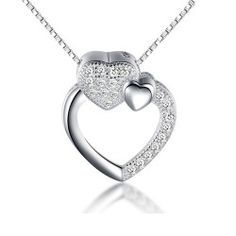 Heart Pendant Love Theme Women's Necklace with 925 Sterling Silver. http://www.vancaro.com/