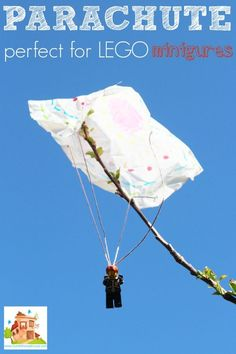 How to make a simple LEGO Minifigure parachute with your kids. This easy parachute uses things you have in your home and is a great STEM activity for children and is perfect for LEGO Minifigures.  You can use this DIY toy parachute to discuss air resistance and other science topics or you can just have lots of fun timing how long it takes your lego figures to fall!