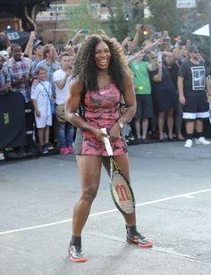 """Serena Williams Photos - Tennis player Serena Williams attends Nike's """"NYC Street Tennis"""" Event on August 2015 in New York City. Serena Williams Photos, Venus And Serena Williams, Nike Tennis Dress, Tennis Clothes, Serena Williams Workout, Serina Williams, Court Outfit, Tennis Fashion, High Fashion"""