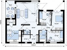 One story house plans - Houz Buzz One Story Homes, First Story, Square Meter, Story House, Traditional House, Bungalow, House Plans, Floor Plans, Cabin