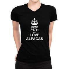 Keep Calm And Love Alpaca Women V-Neck T-Shirt