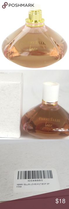 Perry Ellis Love Eau De Parfum Spray 3.4 fl oz (Te Launched in 2011, this fragrance takes you on an unforgettable journey of heartfelt emotions and lifetime relationships . The woman in you who treasures her love, who expresses it with fullness and joy and embraces life with passion will be entranced by this rich and fragrant perfume. Cool citrus blended with white pepper dip into a heart full of floral fragrance; rose, plumeria and water lily and dips into the richness of madagascar…