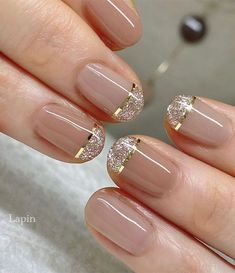 Cute Nail Art Design Ideas With Pretty & Creative Details : Glitter French Nail Tips
