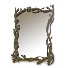 Mirror Rectangular With Branch Brown