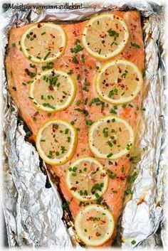Grillattu lohifilee is part of Food - Fish Recipes, Seafood Recipes, Great Recipes, Favorite Recipes, Fast Dinners, Easy Meals, Healthy Snacks, Healthy Recipes, Good Food
