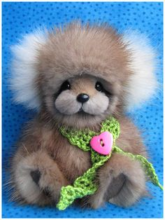 Penny by Blue Valley Bears is a recycled vintage mink fur teddy bear.