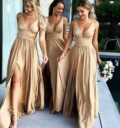 Sexy Side Split V-neck Champagne Gold Bridesmaid Dresses 69375c32a322