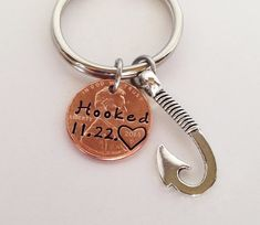 Anniversary Gift for Men, Penny Keychain, Gift for Husband, Anniversary Gift for Boyfriend, Hooked on You, Christmas Gift by SincereImpressions on Etsy                                                                                                                                                     More