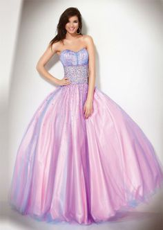 pretty pink and purple strapless ballroom gown or dress