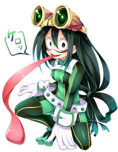 Tsuyu asui my hero academia ext. My Hero Academia Tsuyu, My Hero Academia Bakugou, Boku No Academia, Hero Academia Characters, Anime Characters, Tsuyu Asui, Manga, Chibi, Tanya The Evil
