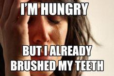 Im hungry but i already brushed my teeth funny memes true teeth meme funny quote funny quotes humor humor quotes hungry funny pictures best memes popular memes Braces Meme, Braces Tips, Dental Braces, Funny Mom Memes, Mom Humor, Funny Quotes, Hilarious, Funny Stuff, Top Memes