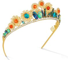 """The tiaraIrene Neuwirth made for me """"She's my good friend, and I had always dreamed of owning one of her pieces. So a tiara seemed like the obvious and practical choice! She made one for my wedding, which was amazing. She worked on it for seven months. It's a wreath of flowers made out of opals, emeralds and diamonds. I had this idea for my dress and the wedding design that I was calling 'pastoral maximalism' that was inspired by Czech Art Nouveau and Austrian secessionism and Greek…"""