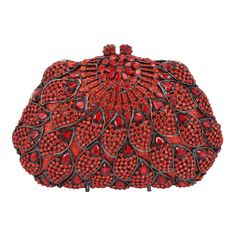 Wholesale Super Luxury Red Crystals Evening Clutch Bag Purses Women Fashion Party Handbags Shoulder Chain Free shipping SC286