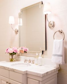 Really love this look for the master bath as well. Powder+Room+Makeover+by+Studio+McGee. White Vanity Bathroom, Bathroom Sconces, Bathroom Wall, Mosaic Bathroom, Remodel Bathroom, Bathroom Vanities, Bathroom Remodeling, Wall Sconces, Mirrors